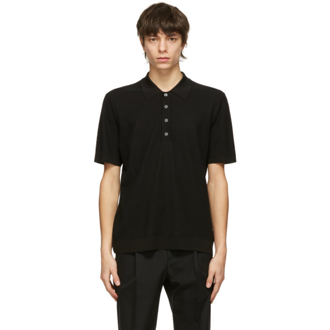 Photo: Dunhill Black Diagonal Texture Polo
