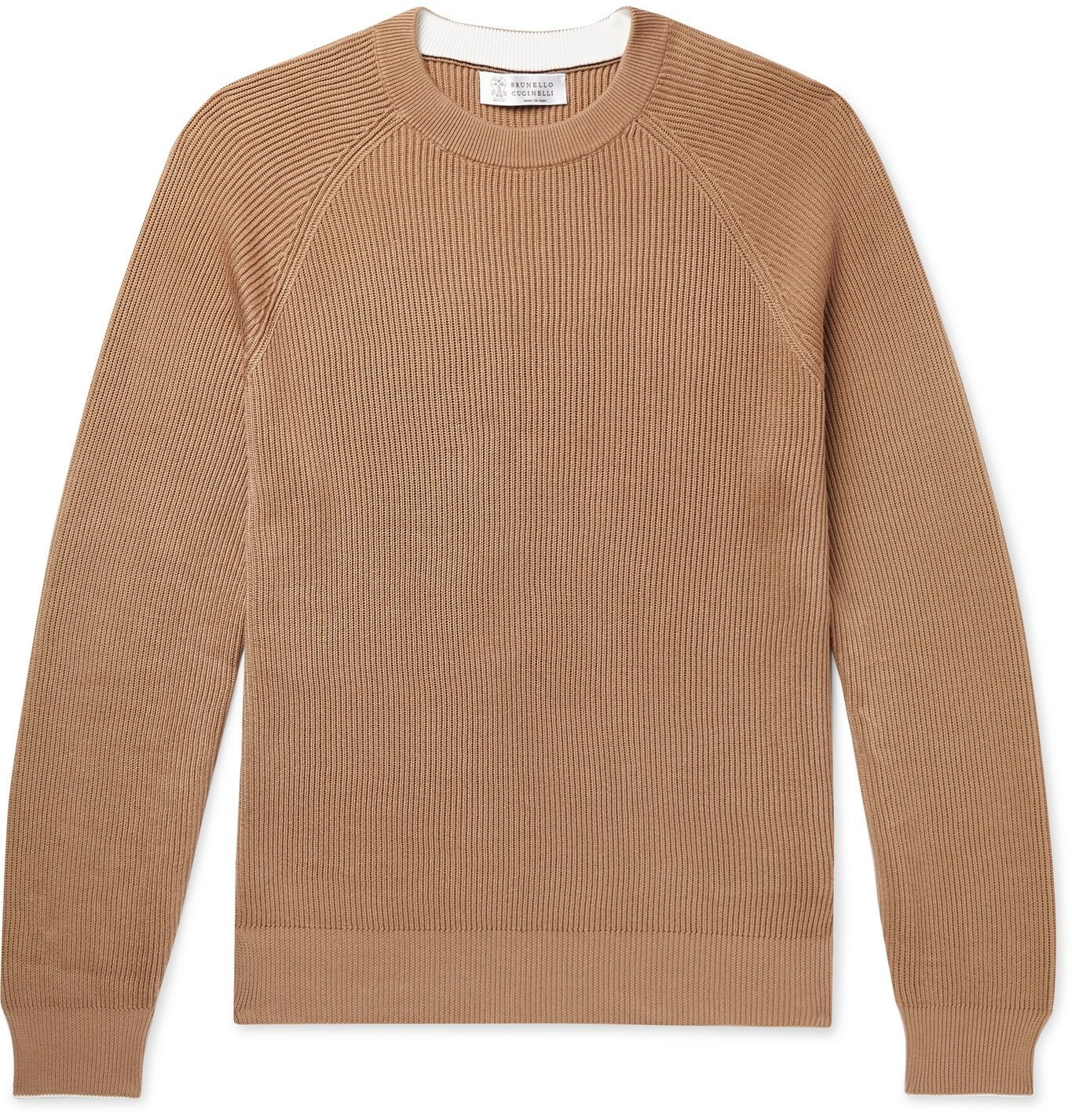 Photo: Brunello Cucinelli - Contrast-Tipped Ribbed Cotton Sweater - Neutrals