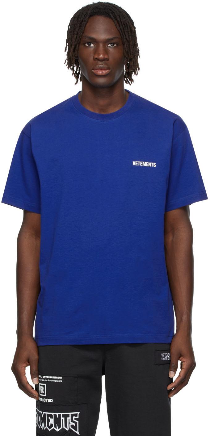 Photo: VETEMENTS SSENSE Exclusive Blue Logo T-Shirt