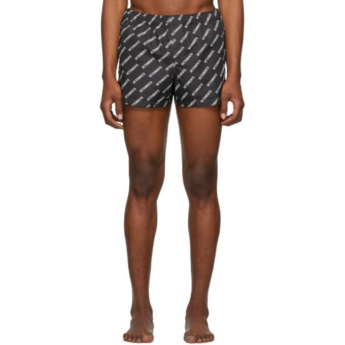 Photo: VETEMENTS Black Logo Allover Swim Shorts