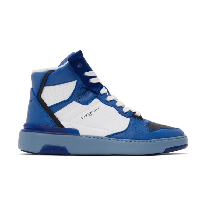 Photo: Givenchy Blue Three-Toned Wing High-Top Sneakers