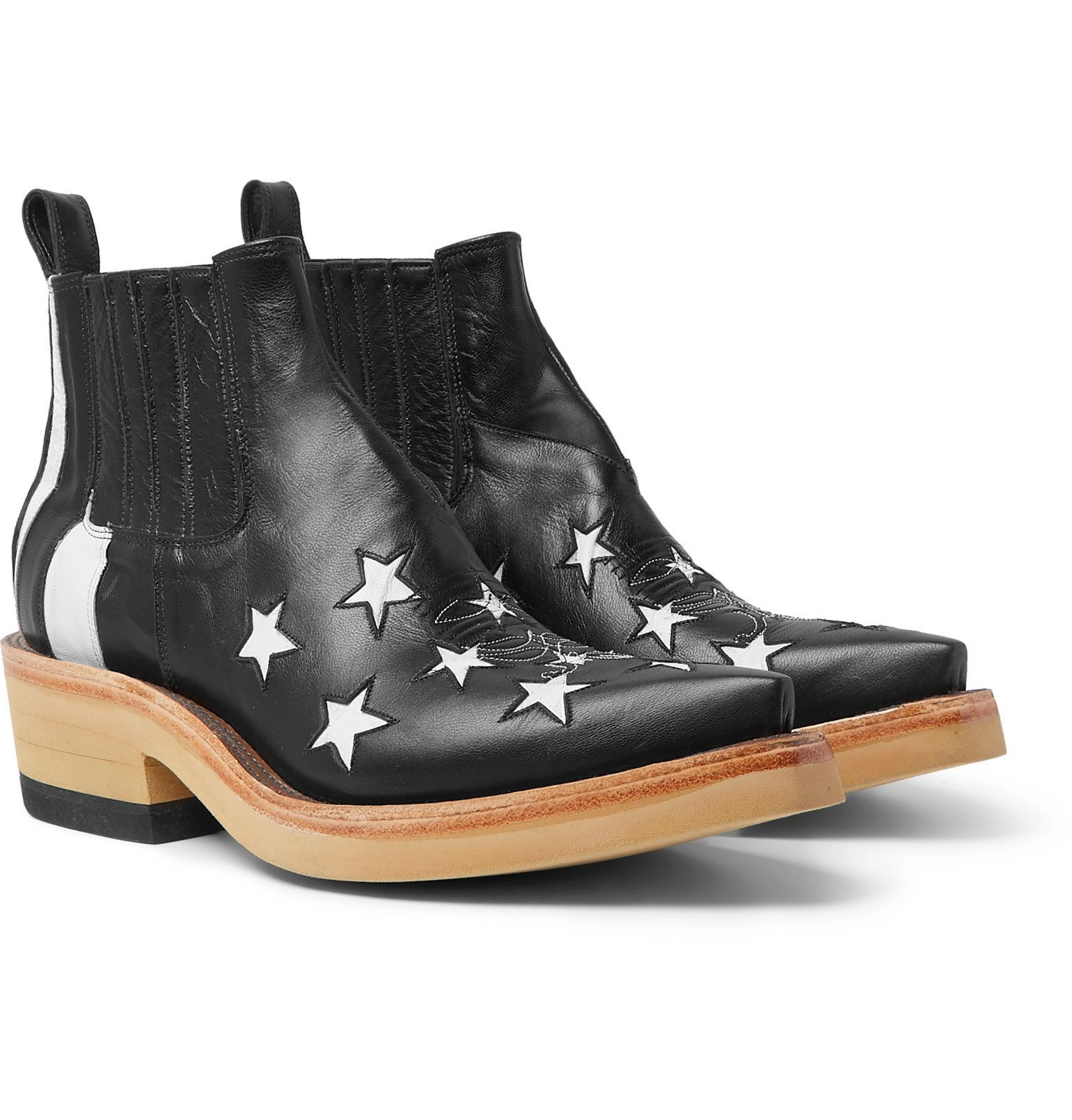 Photo: TAKAHIROMIYASHITA TheSoloist. - Panelled Leather Western Boots - Black