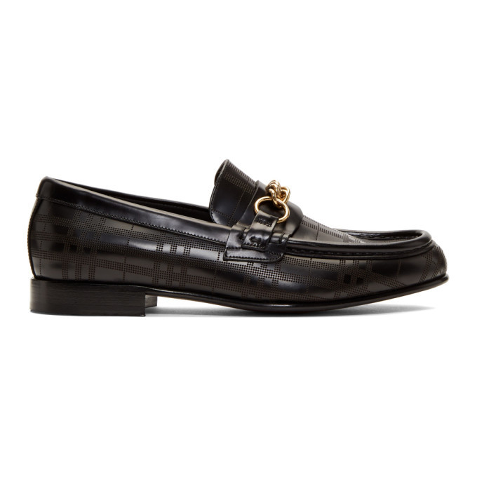 Photo: Burberry Black Perforated Moorley Loafers