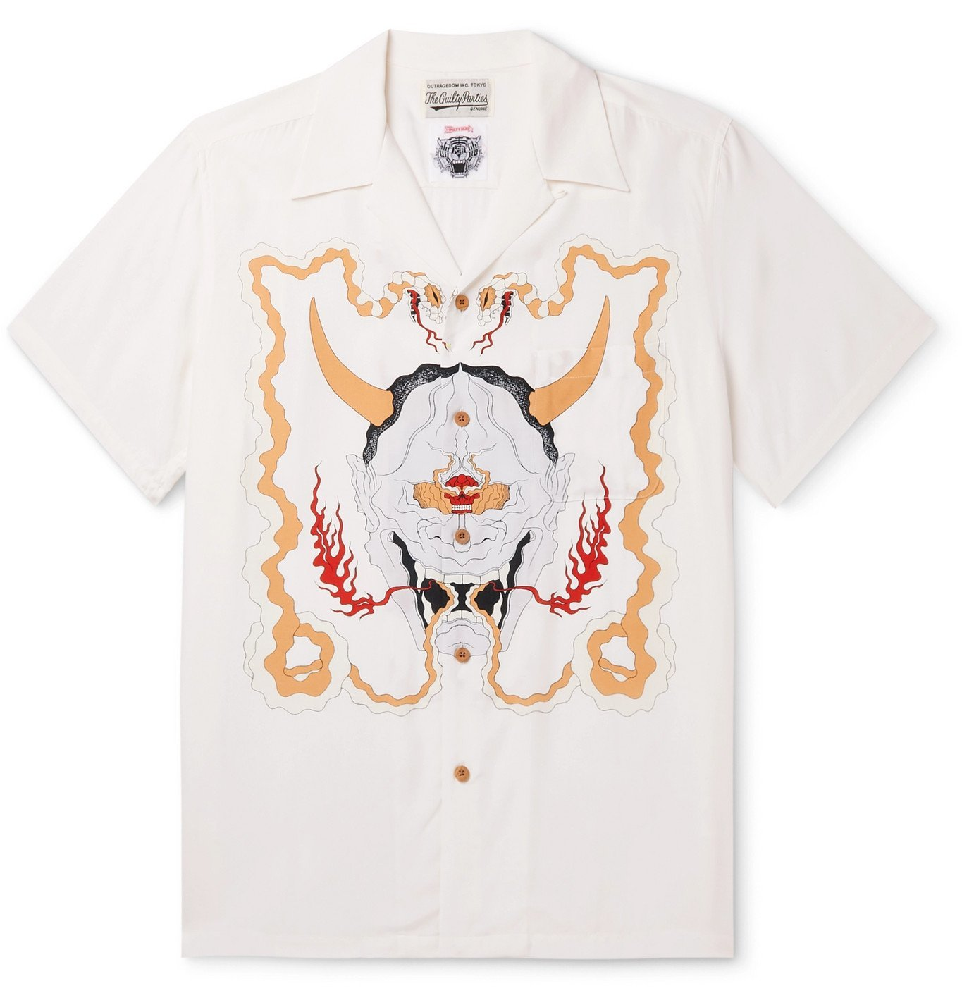 Photo: Wacko Maria - Wolf's Head Camp-Collar Printed Woven Shirt - White