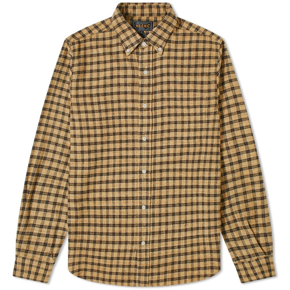 Photo: Beams Plus Button Down Speckle Dyed Flannel Shirt