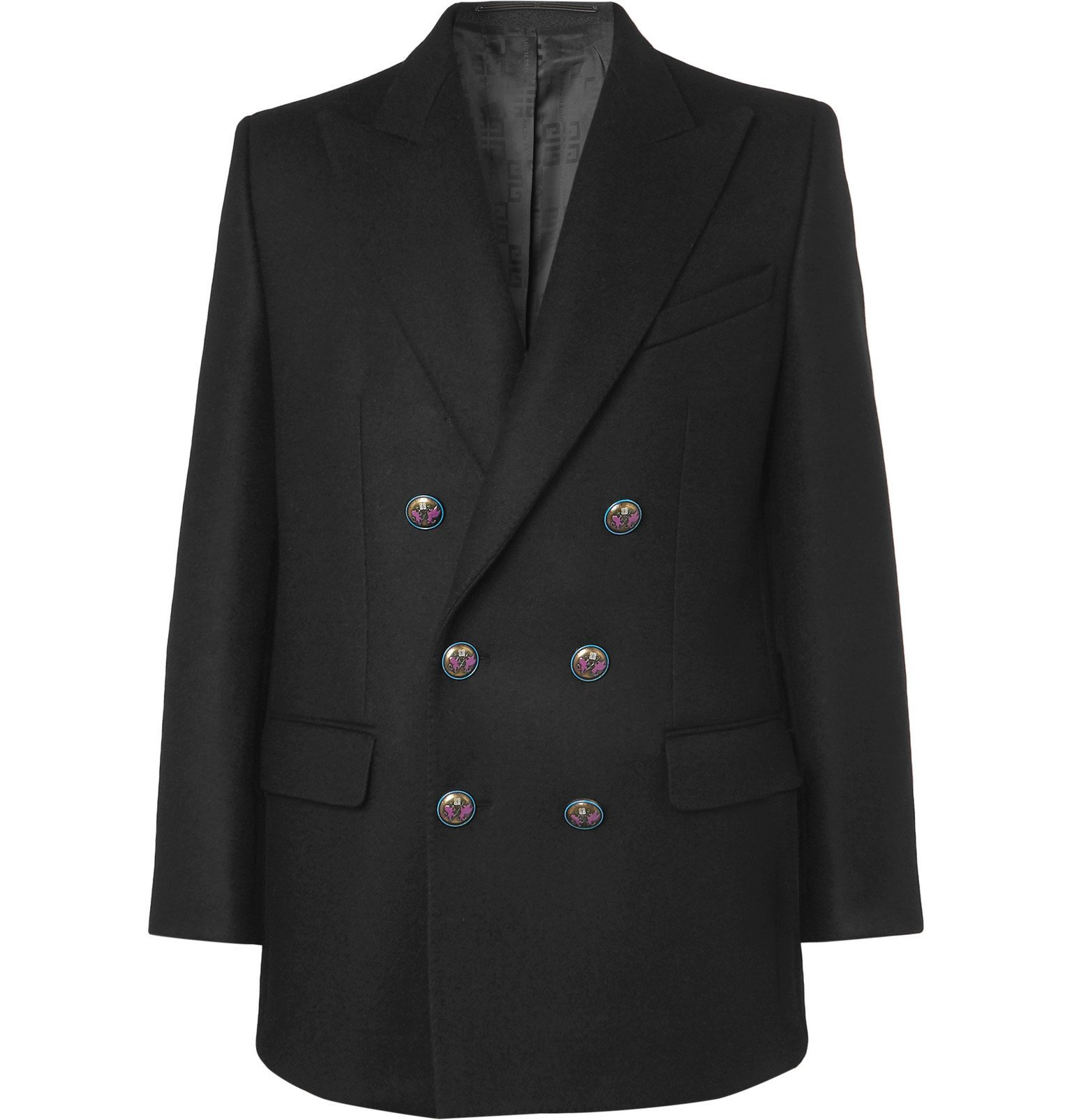 Photo: Givenchy - Black Double-Breasted Wool Blazer - Black