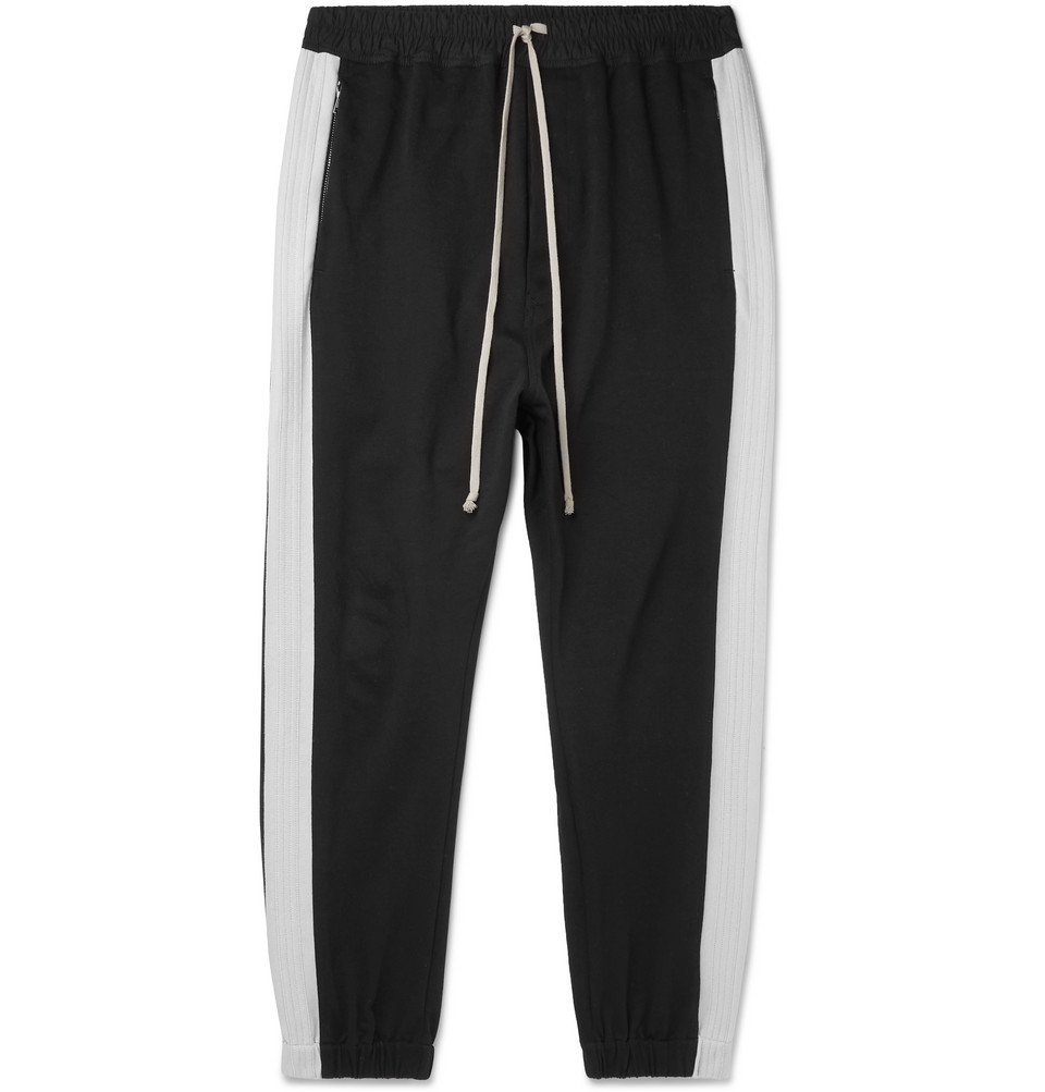 Photo: Rick Owens - Tapered Striped Loopback Cotton-Jersey Track Pants - Black