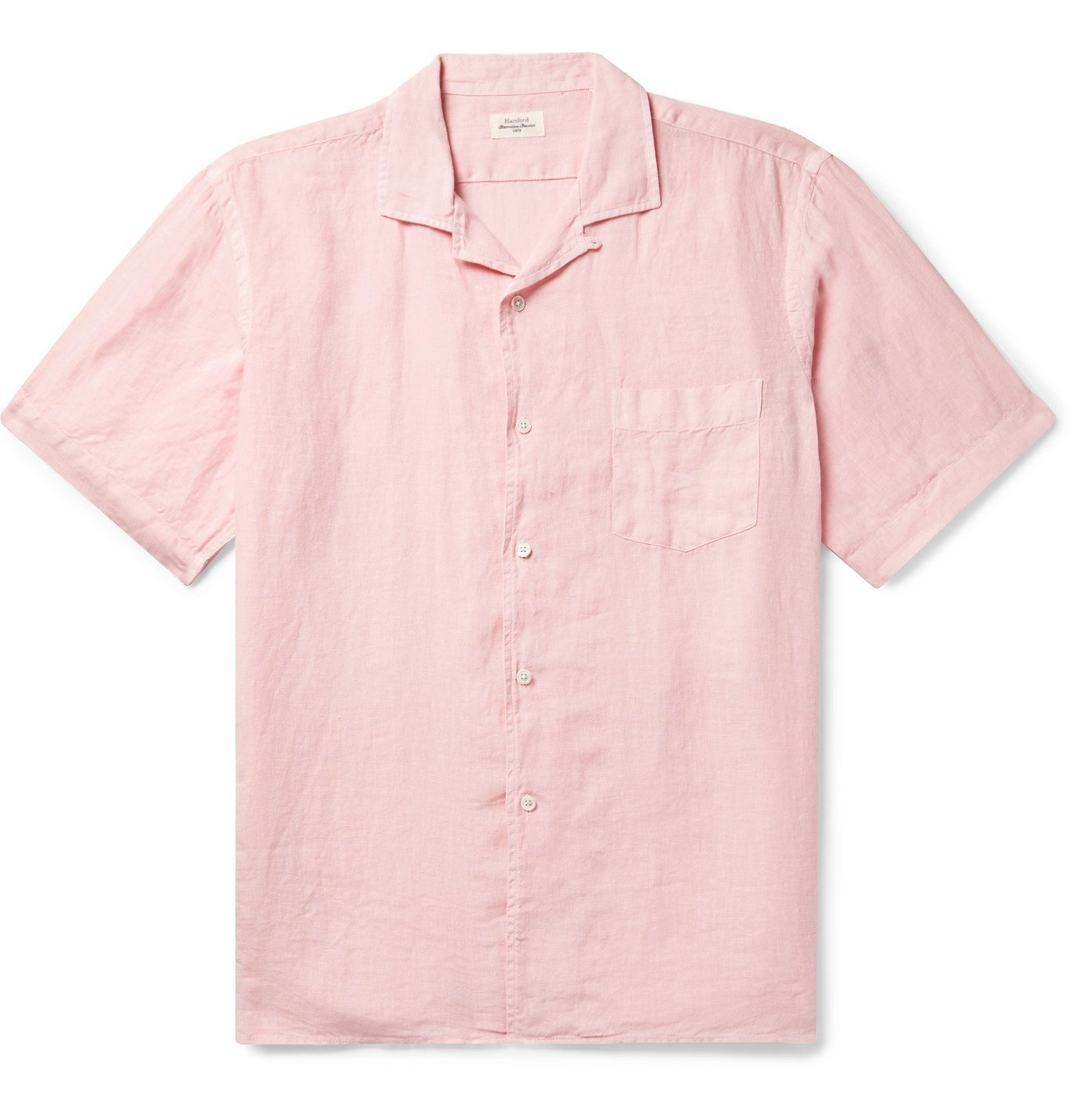 Photo: Hartford - Camp-Collar Slub Linen Shirt - Pink