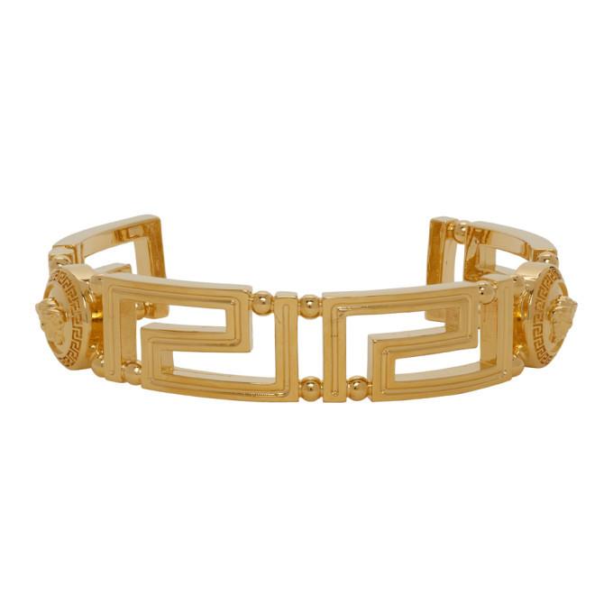 Versace Gold Greek Key Cuff Bracelet