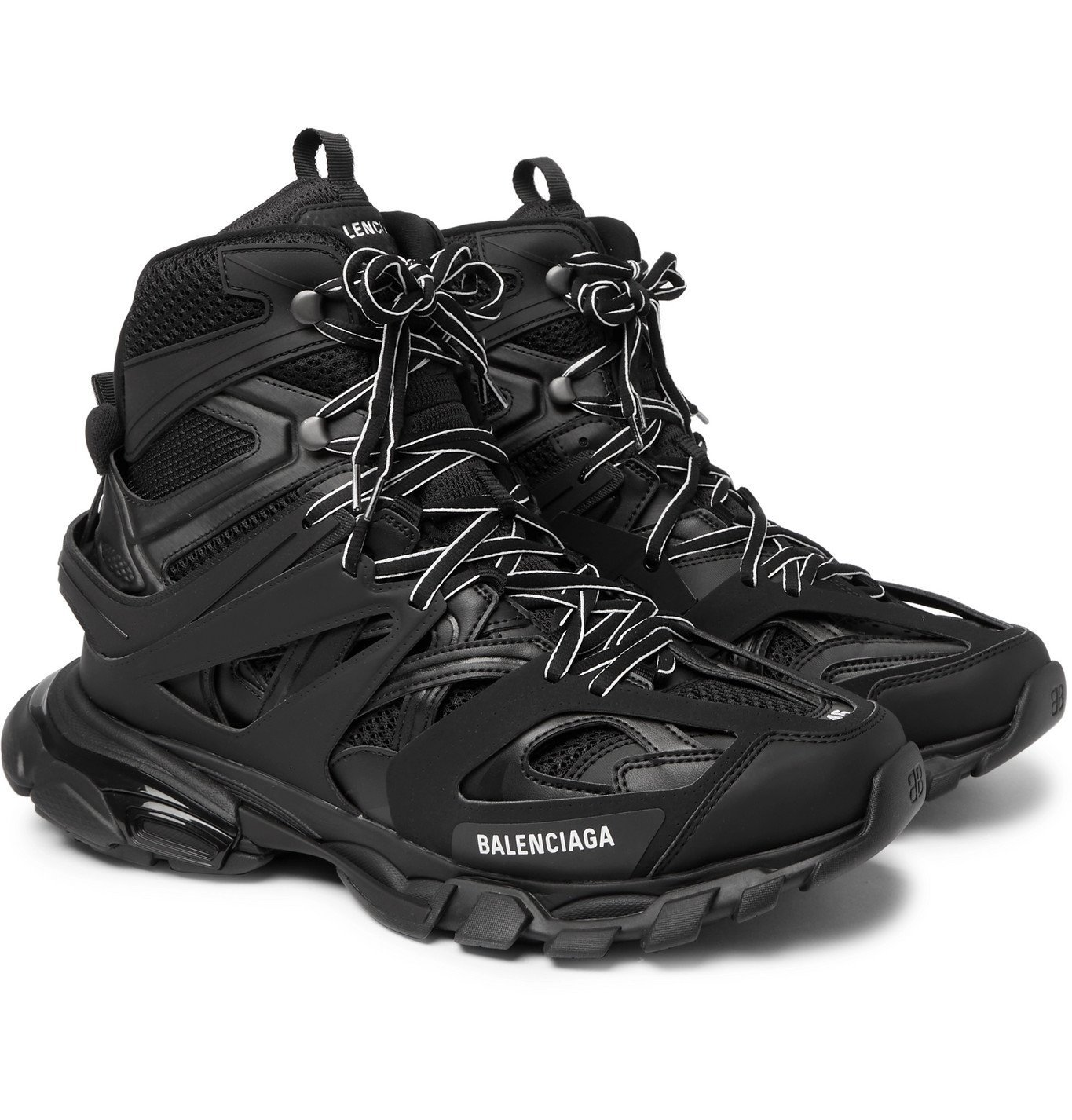 Photo: BALENCIAGA - Track High Nylon, Mesh and Rubber High-Top Sneakers - Black