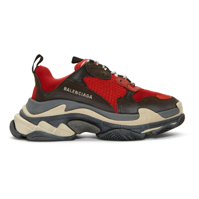 Photo: Balenciaga Red and Black Triple S Sneakers
