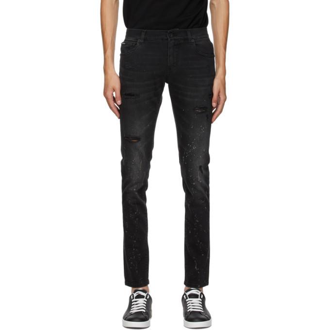 Photo: Dolce and Gabbana Black Paint Splatter Jeans
