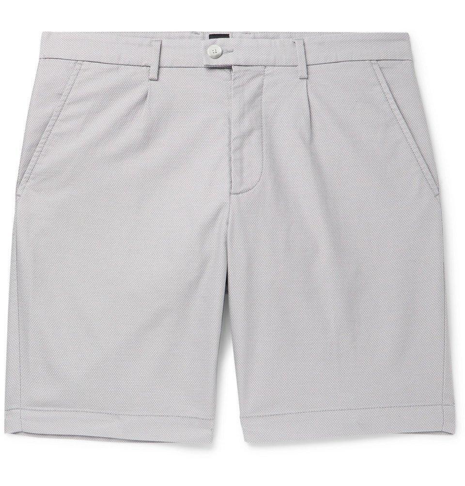 Photo: Hugo Boss - Slice Slim-Fit Cotton-Blend Jacquard Shorts - Light gray