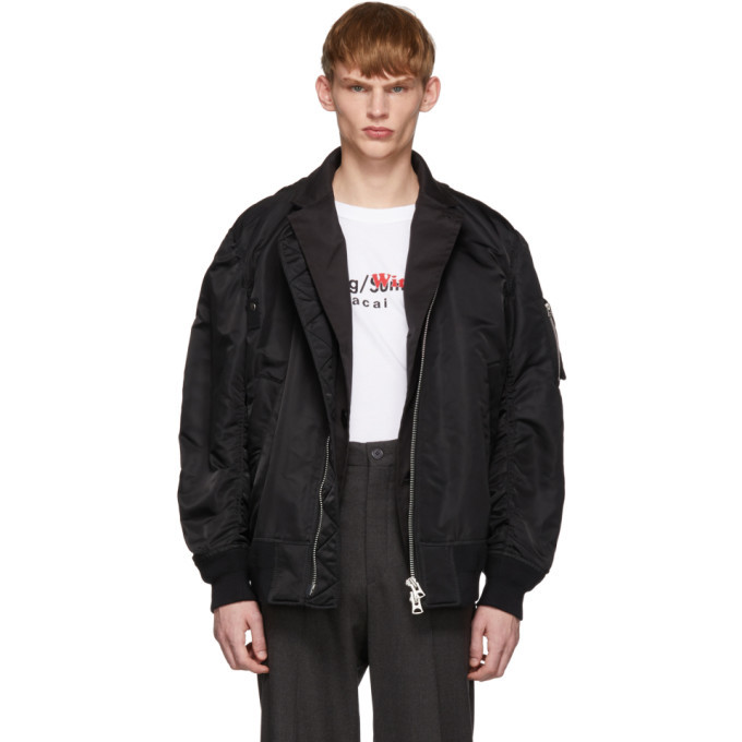 Photo: Sacai Black MA-1 Bomber Jacket