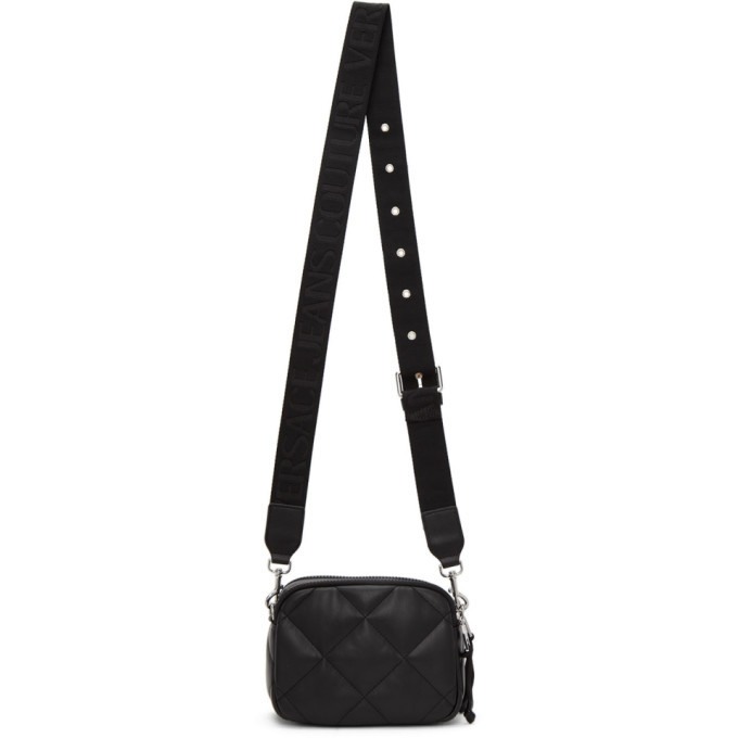 Versace Jeans Couture Black Faux-Leather Quilted Camera Bag
