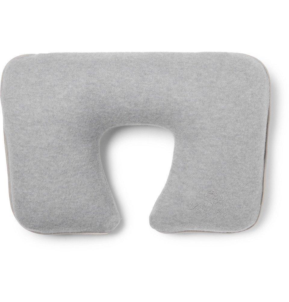 Photo: Loro Piana - Suede-Trimmed Cashmere-Blend Travel Pillow - Men - Gray