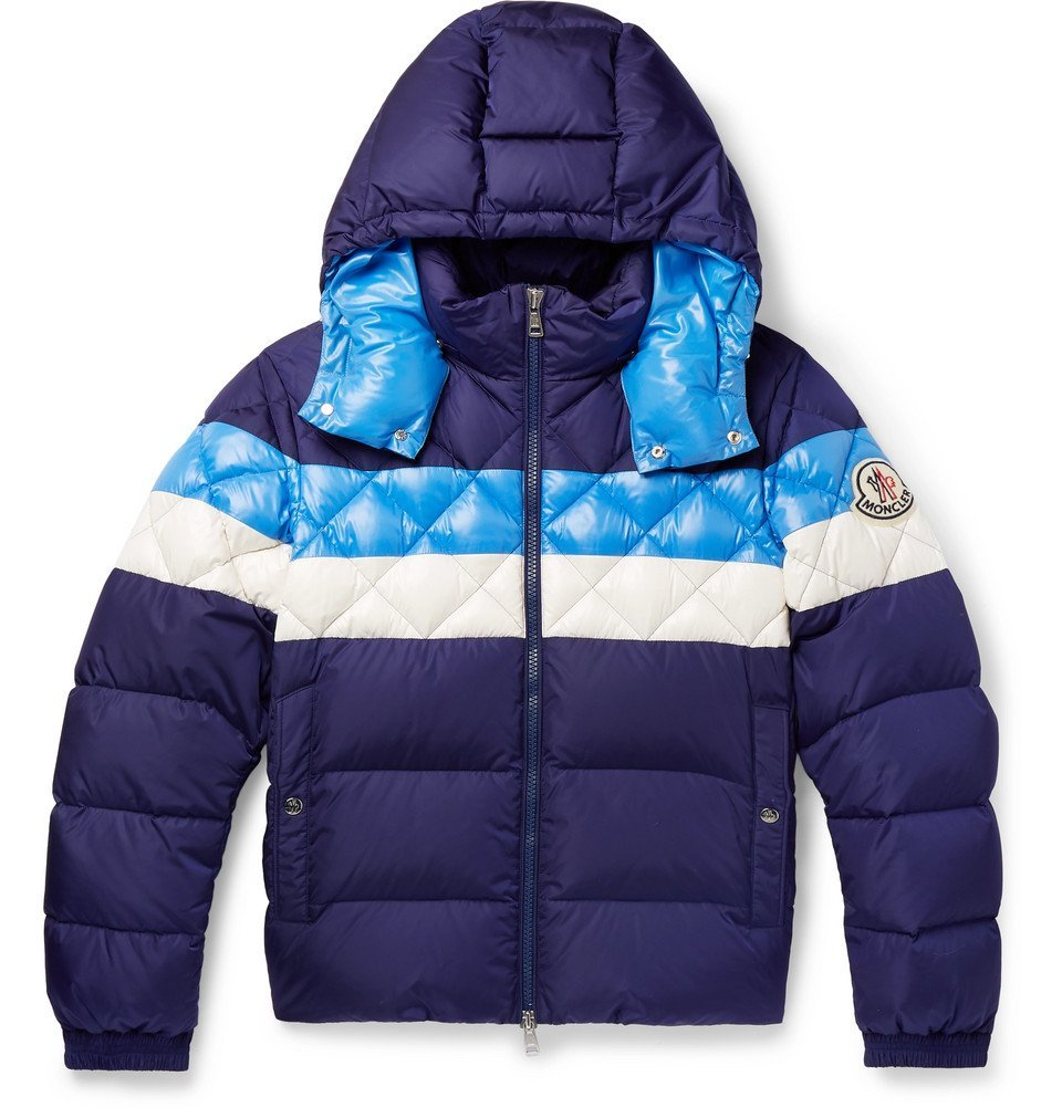 Photo: Moncler - Janvry Slim-Fit Colour-Block Quilted Shell Hooded Down Jacket - Blue
