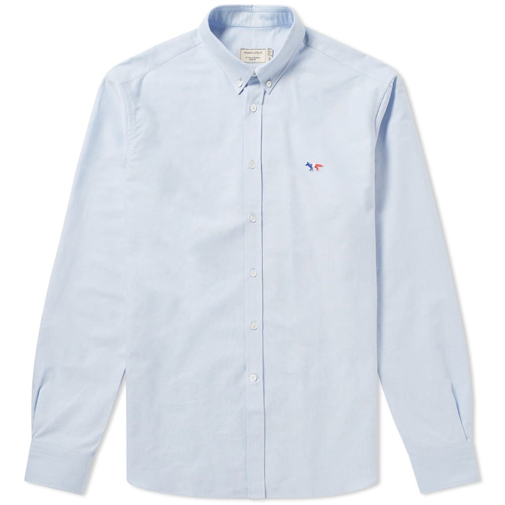 Photo: Maison Kitsuné Button Down Classic Tricolour Fox Oxford Shirt Blue