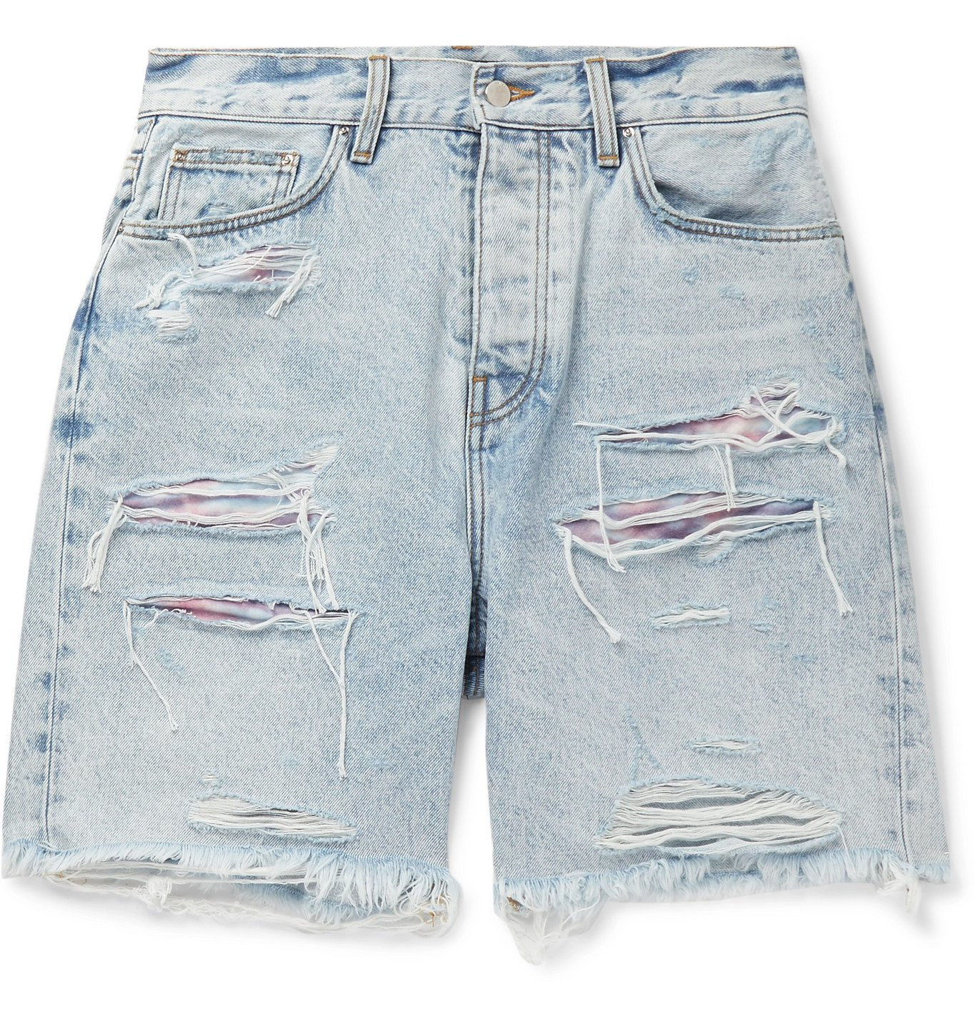 Photo: AMIRI - Thrasher Panelled Distressed Denim Shorts - Blue
