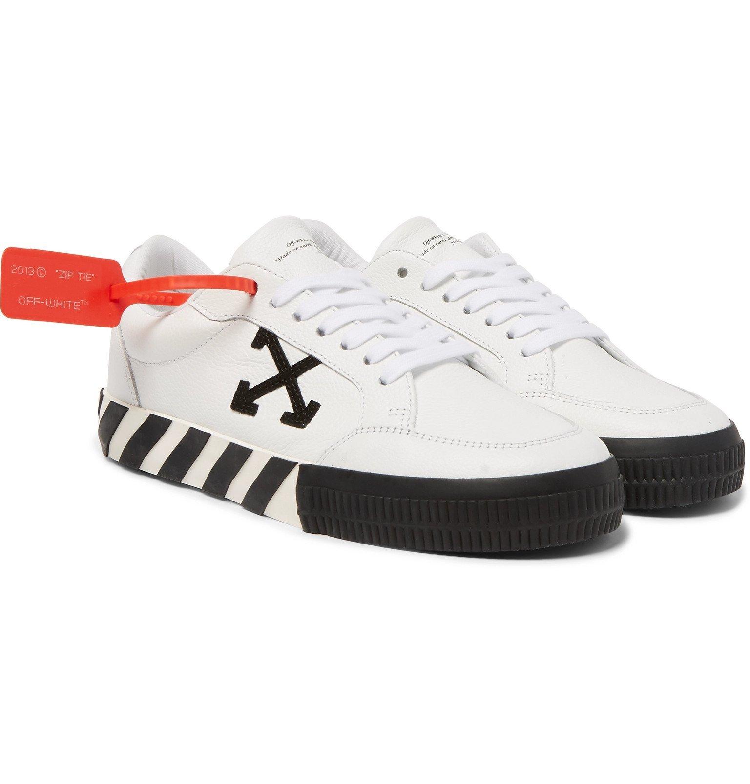 Photo: Off-White - Logo-Appliquéd Full-Grain Leather Sneakers - White