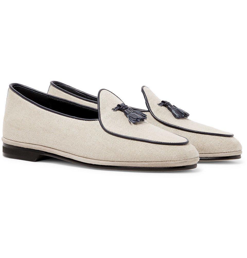 978f60426dd Rubinacci - Marphy Leather-Trimmed Herringbone Wool Tasselled Loafers -  Beige