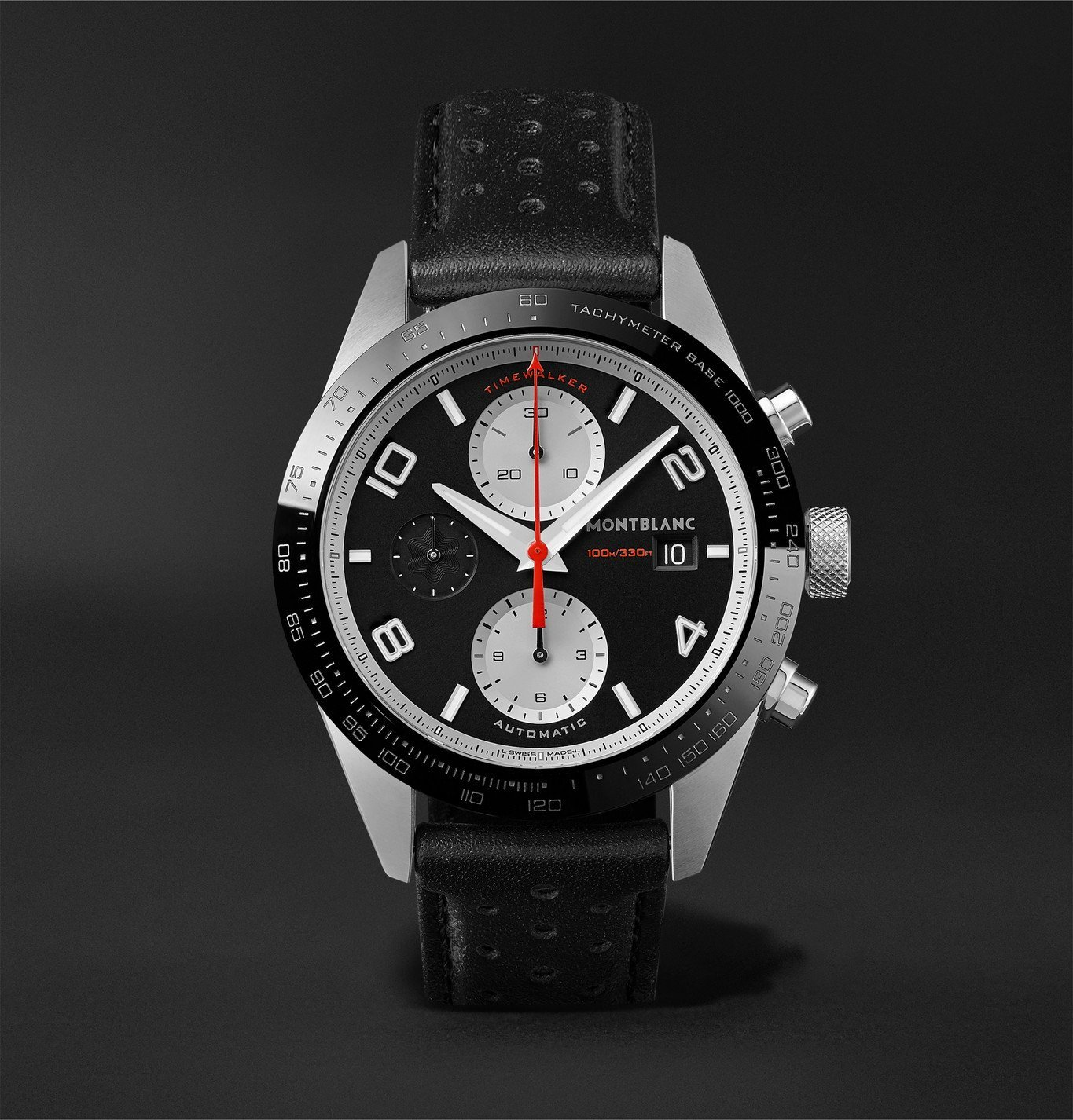 Photo: Montblanc - TimeWalker Automatic Chronograph 41mm Stainless Steel, Ceramic and Leather Watch, Ref. No. 119941 - Black
