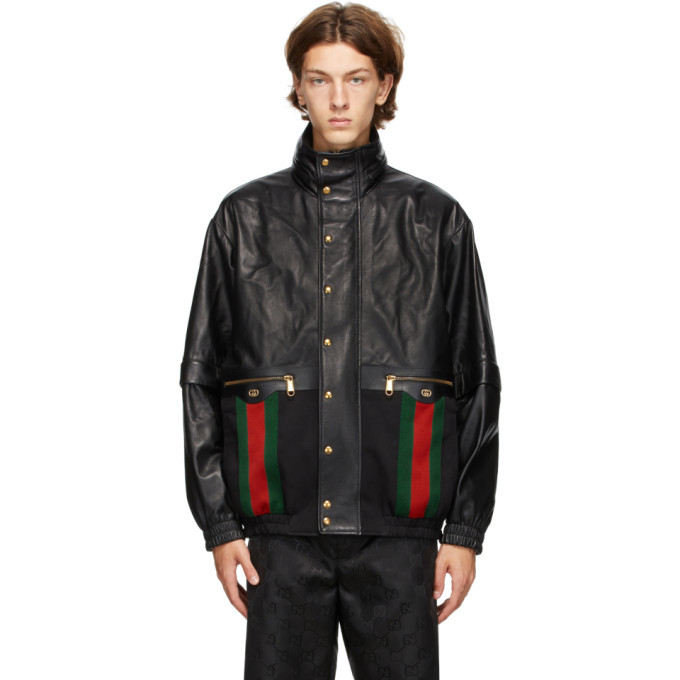 Photo: Gucci Black Mix Leather Jacket