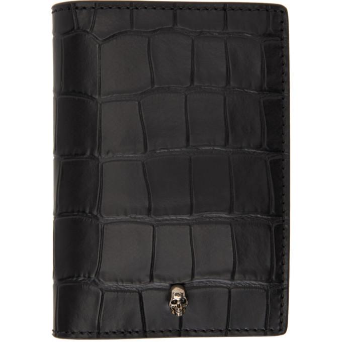 Photo: Alexander McQueen Black Croc Pocket Organizer Bifold Wallet