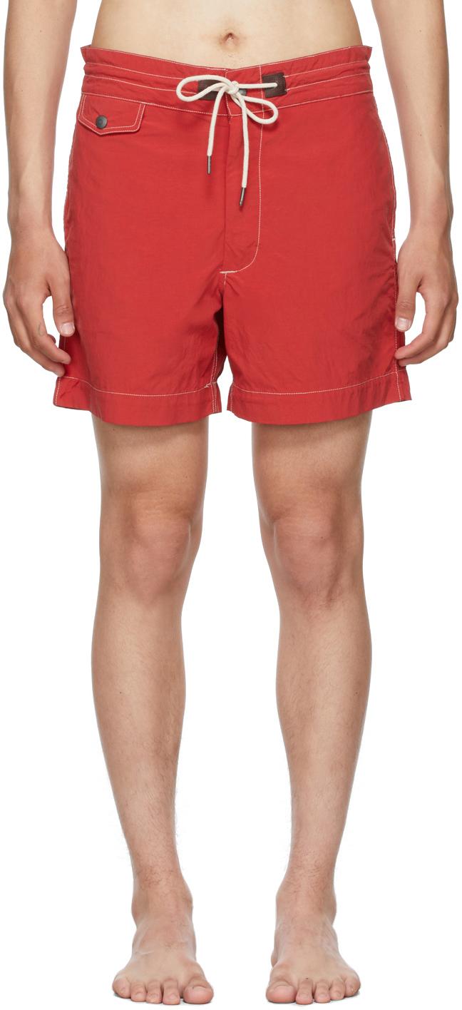 Photo: RRL Red Twill Drawstring Swim Shorts