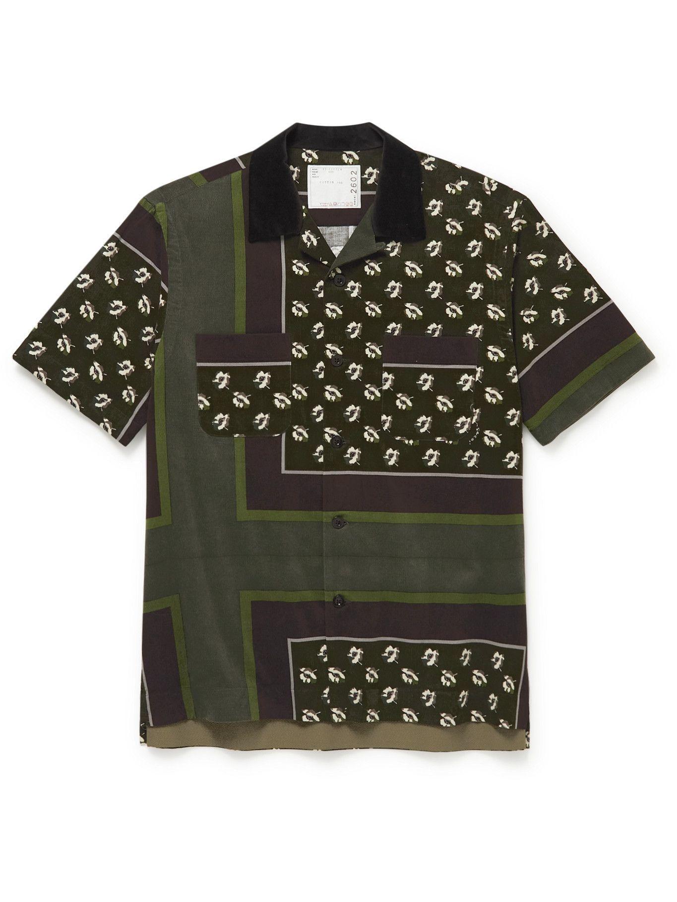 Photo: Sacai - Camp-Collar Velvet-Trimmed Floral-Print Cotton-Corduroy Shirt - Green