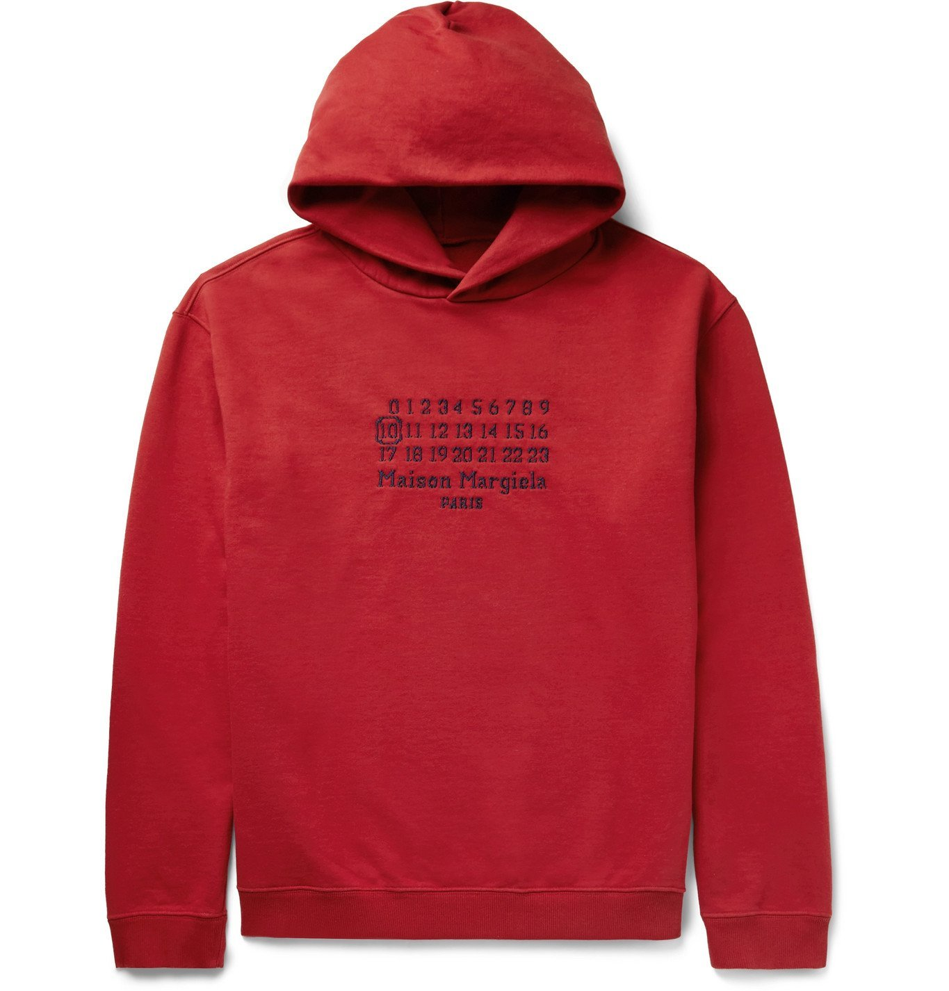 Photo: MAISON MARGIELA - Oversized Logo-Embroidered Loopback Cotton-Jersey Hoodie - Red