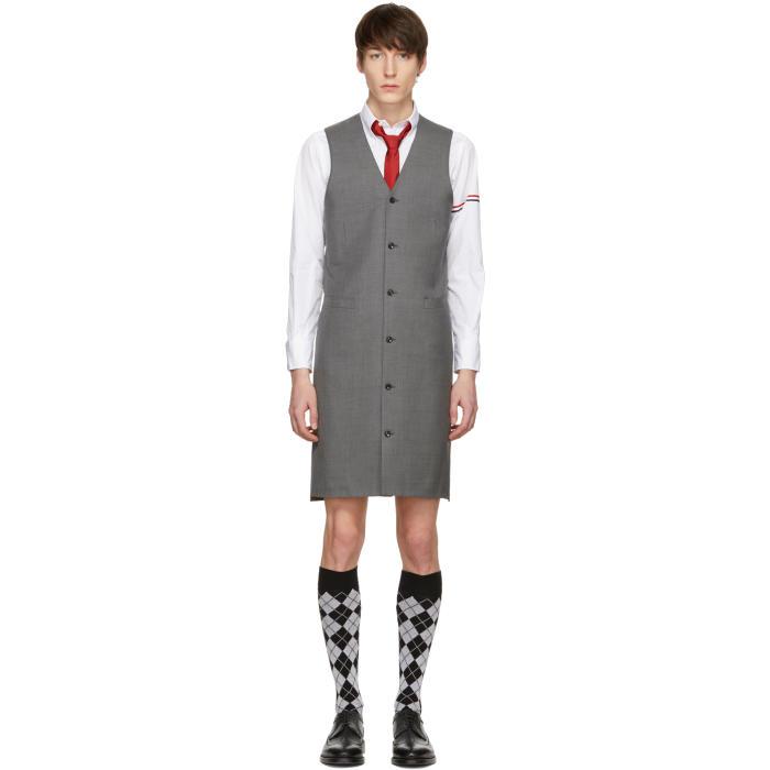 Photo: Thom Browne Grey Wool Twill Dress Vest