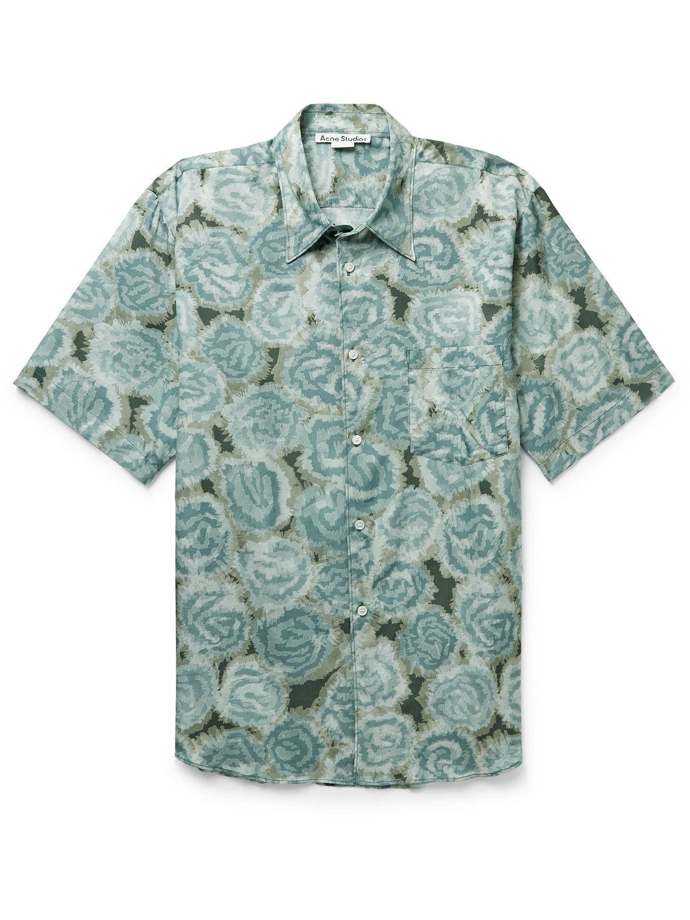 Photo: Acne Studios - Printed Cotton-Blend Twill Shirt - Green