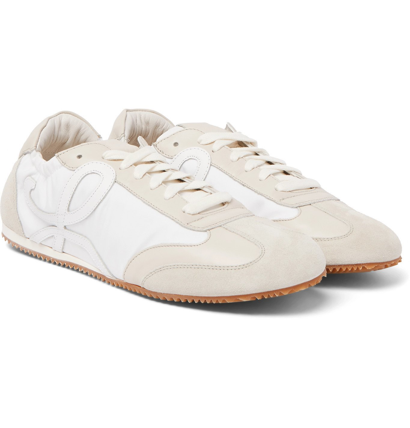 Photo: Loewe - Ballet Leather and Suede-Trimmed Nylon Sneakers - White