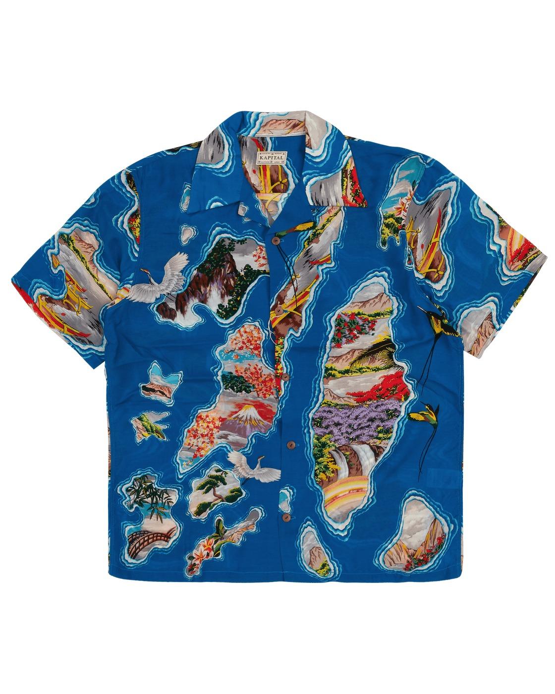 Photo: Kapital Silk/Rayon Pacific Atlantic Aloha Shirt Blue
