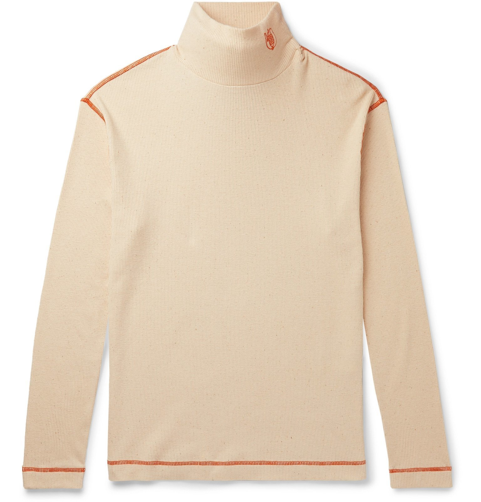 Photo: Loewe - Eye/LOEWE/Nature Logo-Embroidered Ribbed Cotton-Jersey Rollneck T-Shirt - Neutrals