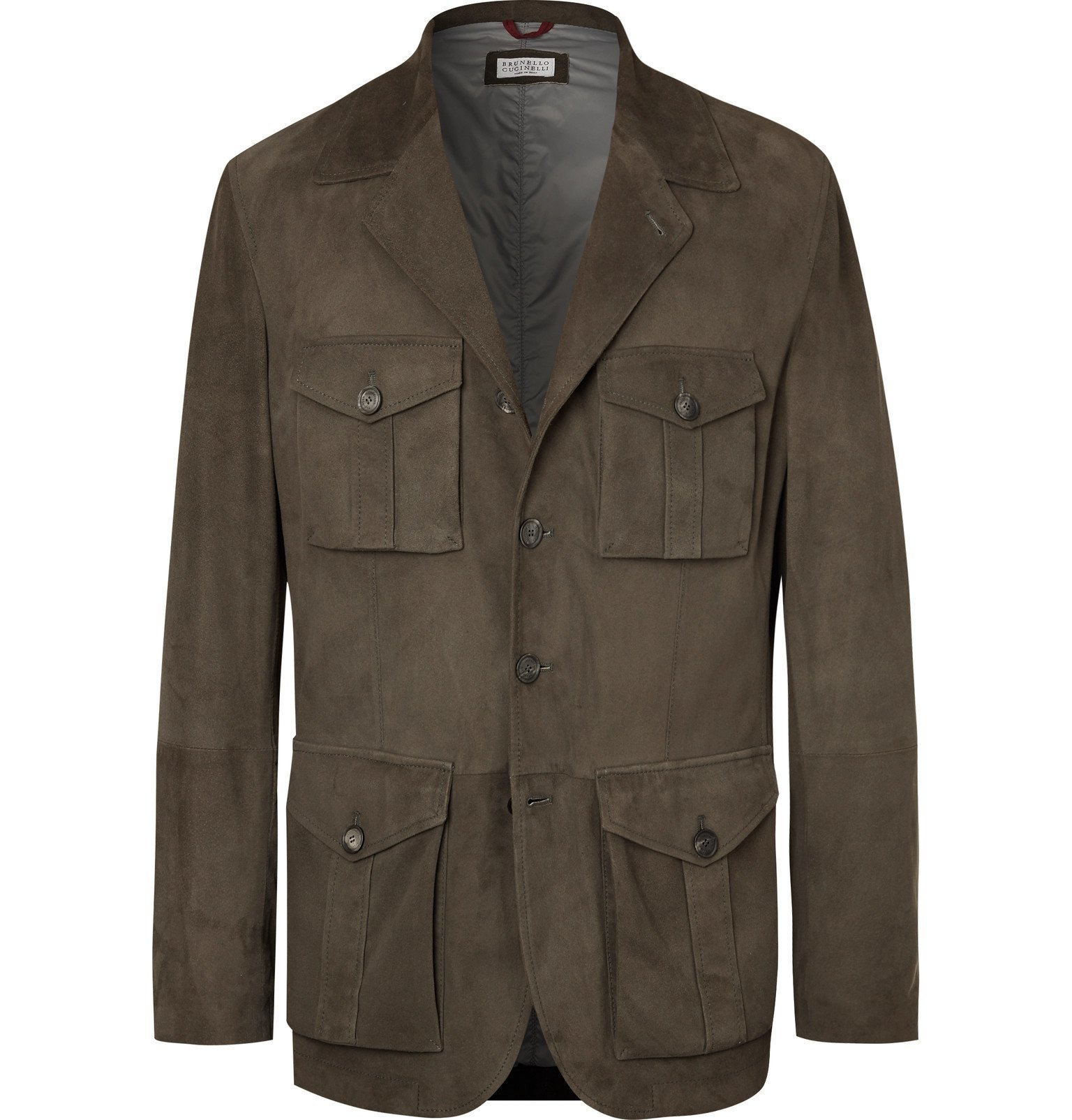 Photo: Brunello Cucinelli - Slim-Fit Suede Field Jacket - Green
