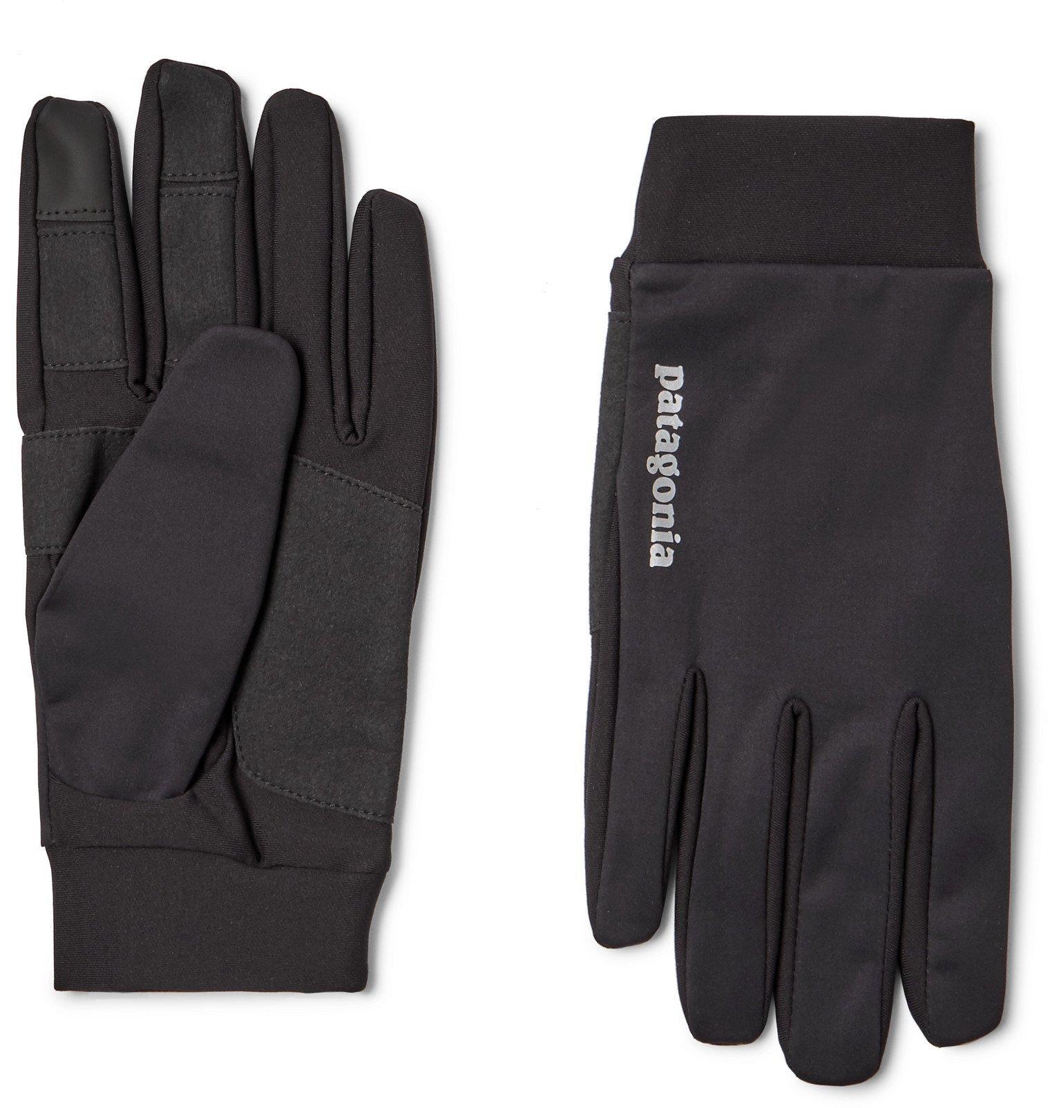 Photo: Patagonia - Logo-Print Wind Shield Gloves - Black