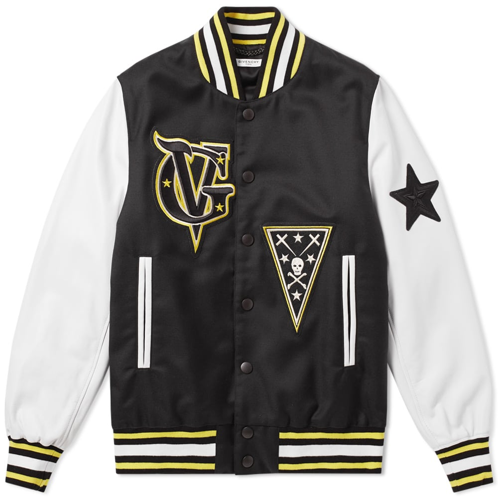 Photo: Givenchy Leather Sleeve Patch Varsity Jacket Black