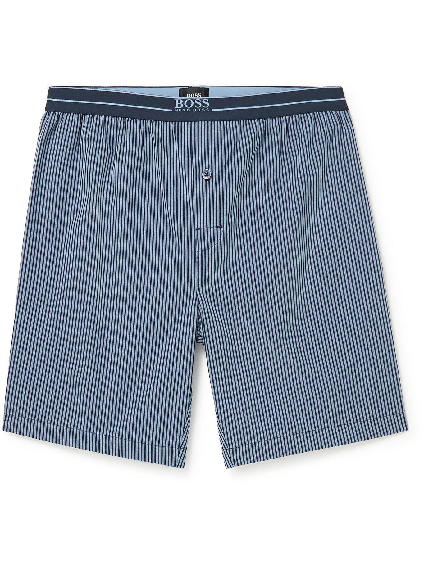 Photo: HUGO BOSS - Striped Cotton-Poplin Pyjama Shorts - Blue