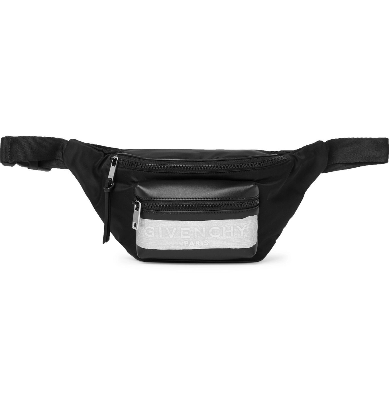 Photo: GIVENCHY - Logo-Detailed Leather and Shell Belt Bag - Black