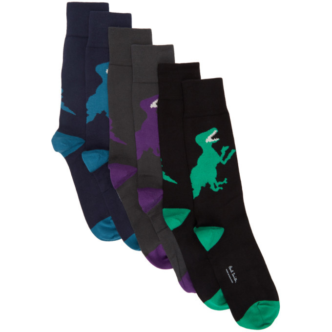 Photo: PS by Paul Smith Three-Pack Multicolor Big Dinosaur Socks