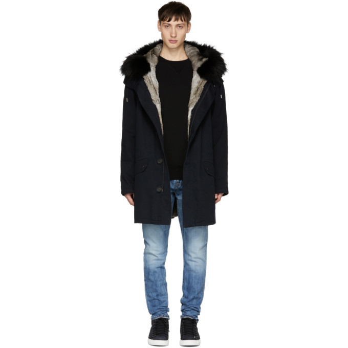Photo: Yves Salomon Navy Fur-Lined Parka