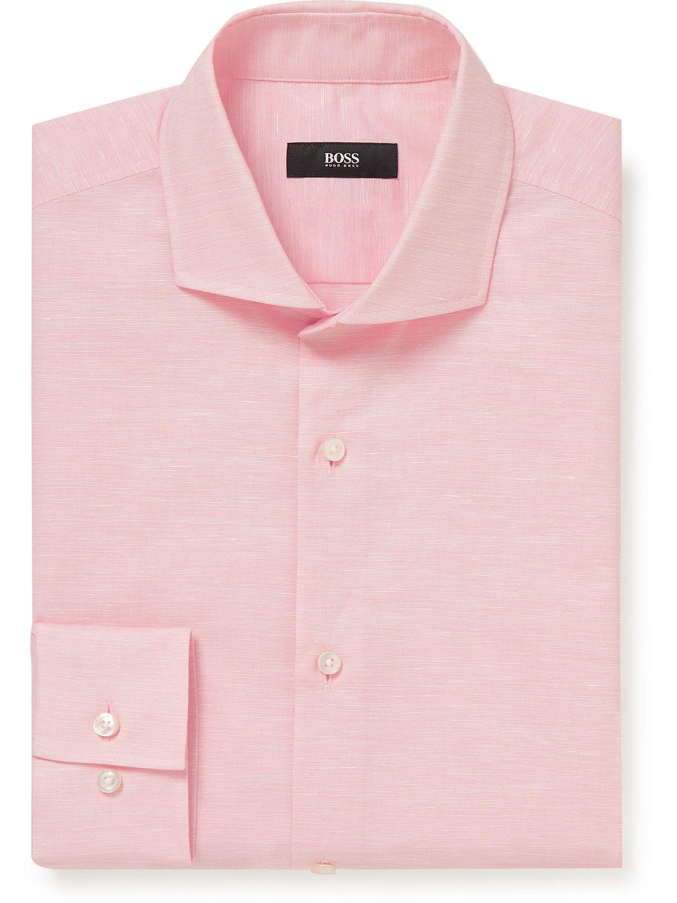 Photo: HUGO BOSS - Jason Slim-Fit Cutaway-Collar Cotton and Hemp-Blend Shirt - Pink
