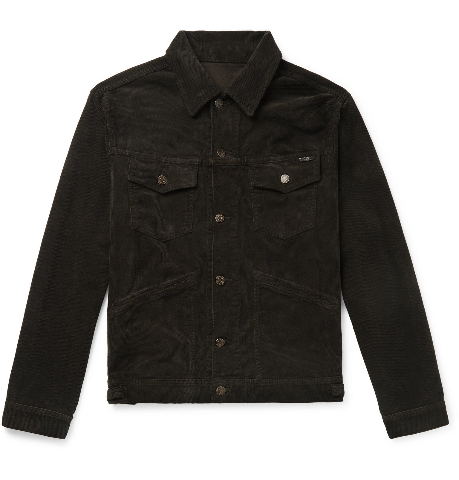 Photo: TOM FORD - Slim-Fit Washed Cotton-Blend Corduroy Trucker Jacket - Brown