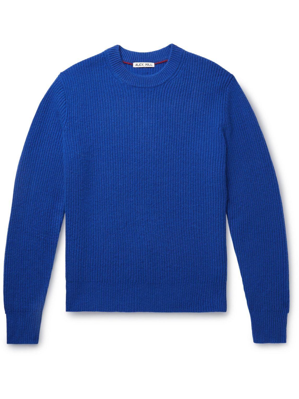 Photo: Alex Mill - Jordan Ribbed Brushed-Cashmere Sweater - Blue