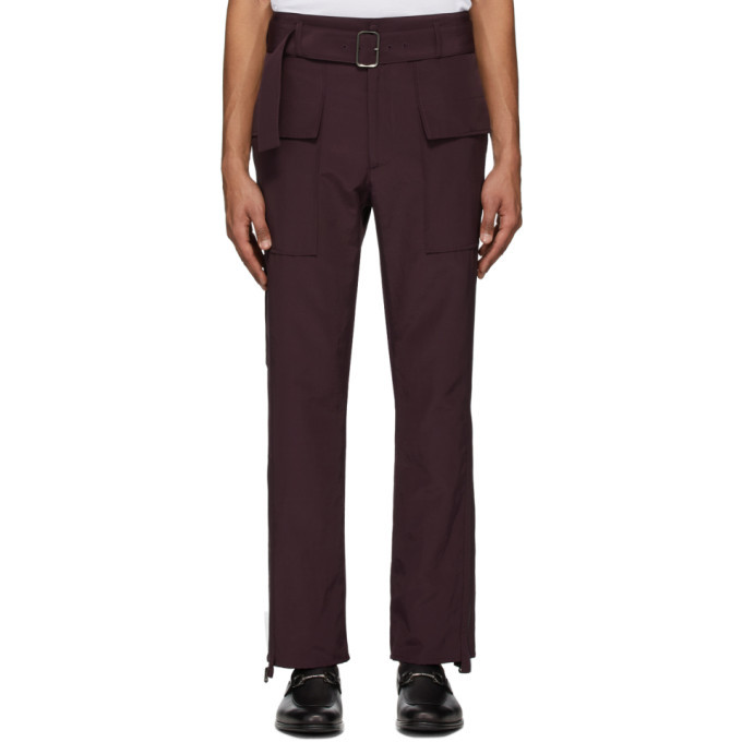 Photo: Salvatore Ferragamo Burgundy Cargo Trousers