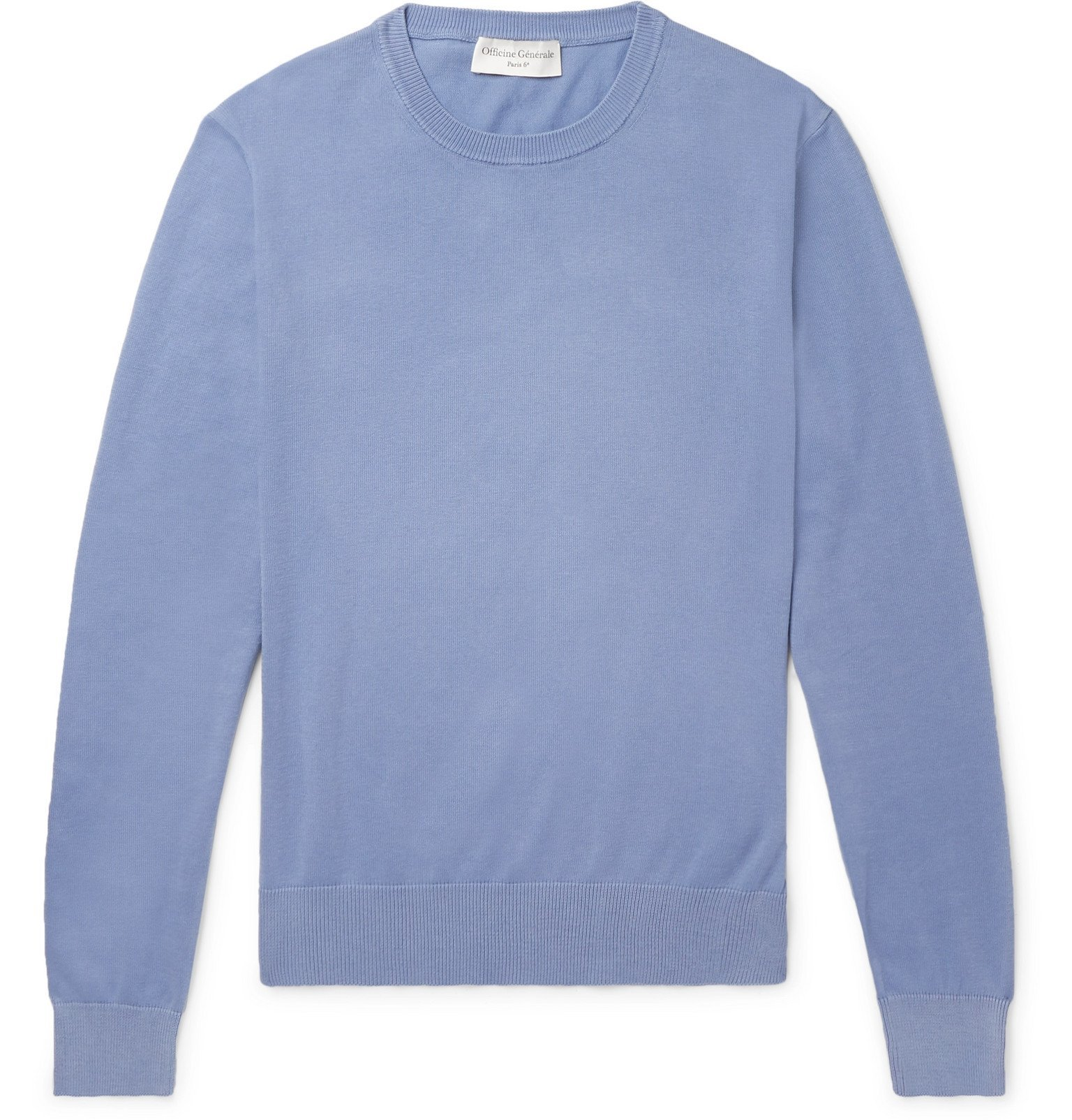 Photo: Officine Generale - Neils Garment-Dyed Cotton Sweater - Blue