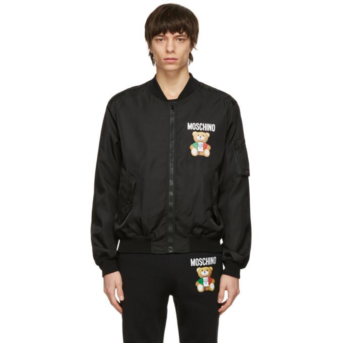 Photo: Moschino Black Italian Teddy Bear Bomber Jacket