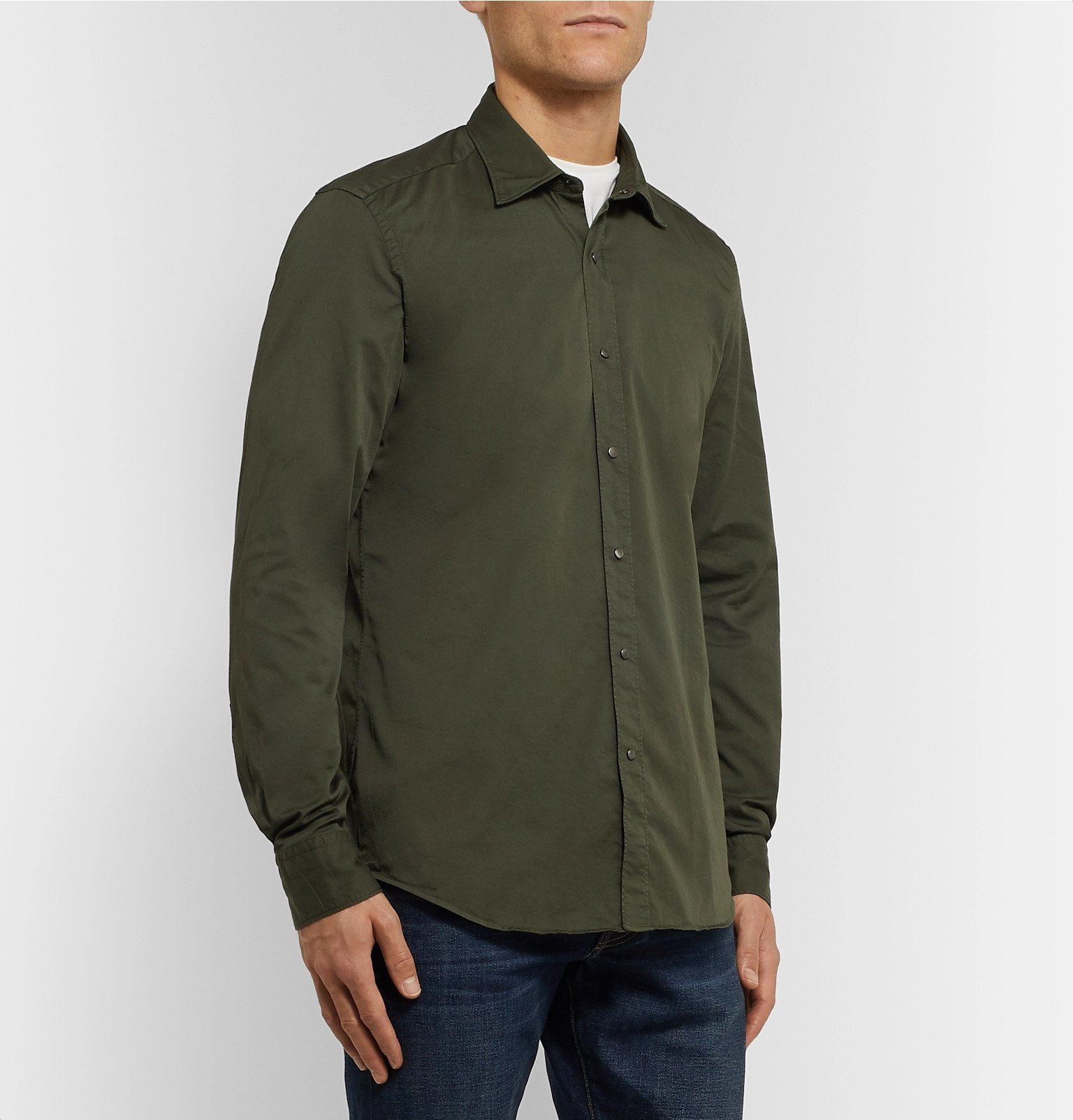 Tod's - Slim-Fit Garment-Dyed Cotton-Blend Twill Shirt - Green